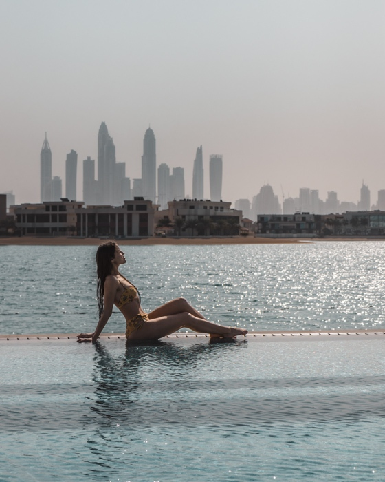 Atlantis the Palm White Beach sunbathing by the pool by Dancing the Earth