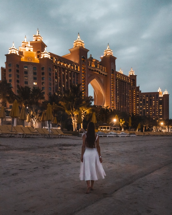 Atlantis the Palm by night from the beach by Dancing the Earth