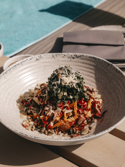 Atlantis the Palm White Beach salad by Dancing the Earth