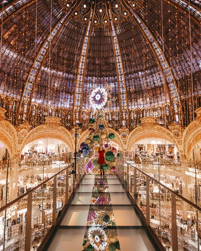Christmas in Paris Galeries Lafayette walkway in 2018 by Dancing the Earth