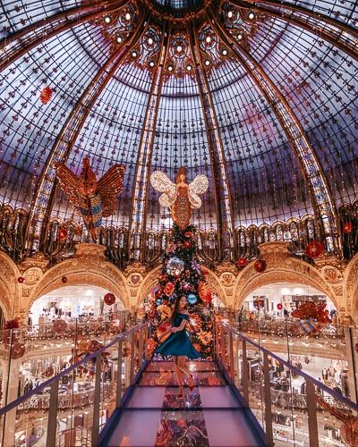 Christmas in Paris Galeries Lafayette walkway by Dancing the Earth