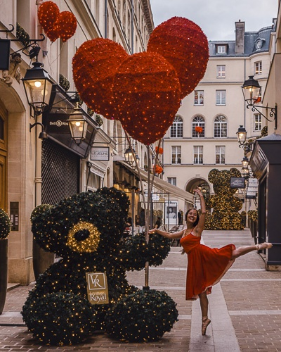 Christmas in Paris red heart and bear at Village Royal by Dancing the Earth