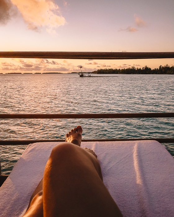 Four Seasons Bora Bora sunset from the private deck by Dancing the Earth