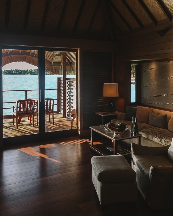 Four Seasons Bora Bora suites living room by Dancing the Earth