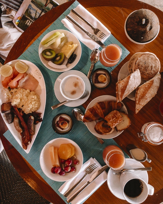 Four Seasons Bora Bora breakfast flatlay by Dancing the Earth