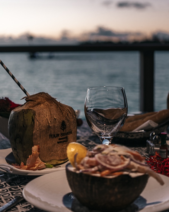 Four Seasons Bora Bora dinner coconut rawfish by Dancing the Earth