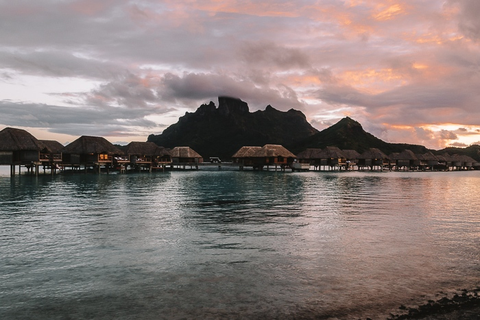 Four Seasons Bora Bora Mount Otemanu at sunset by Dancing the earth