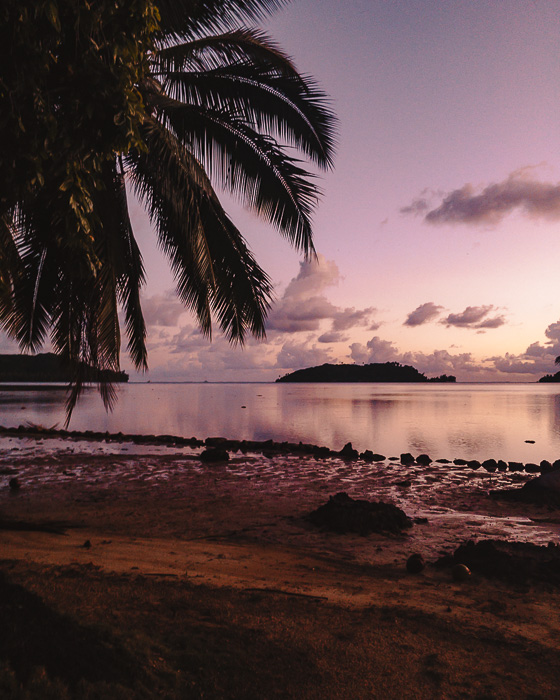 Sunset over Huahine lagoon from Pension Tupuna by Dancing the Earth