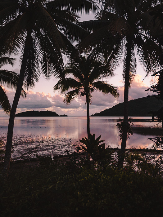 French Polynesia travel log Huahine lagoon at sunset from Pension Tupuna by Dancing the Earth