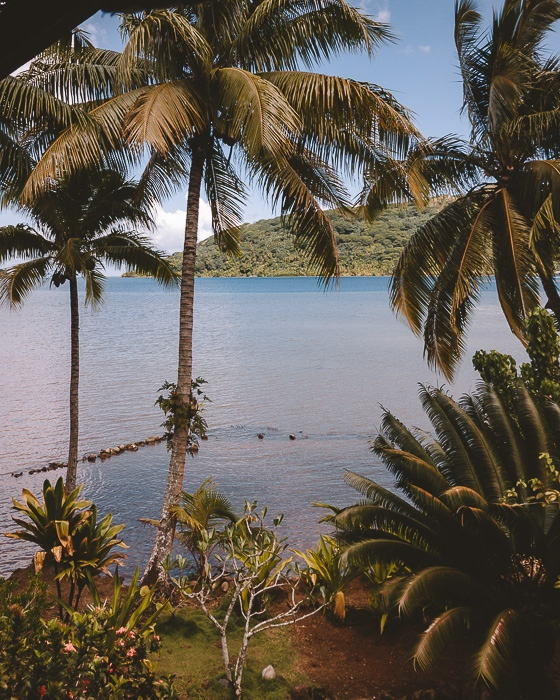 view on Huahine lagoon from Pension Tupuna by Dancing the Earth