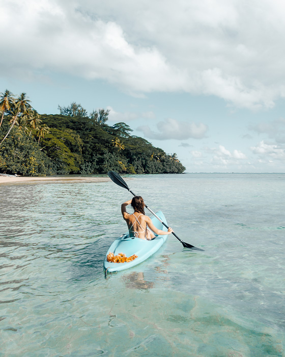 French Polynesia travel guide kayaking in Huahine lagoon by Dancing the Earth