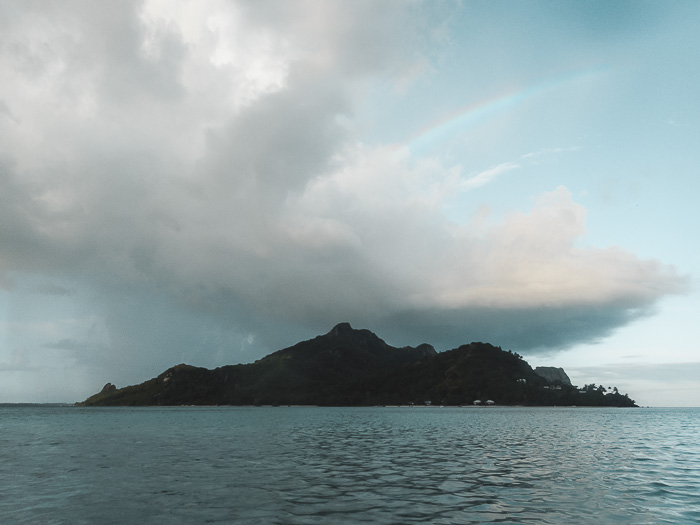 French Polynesia travel guide rainbow over Maupiti island by Dancing the Earth