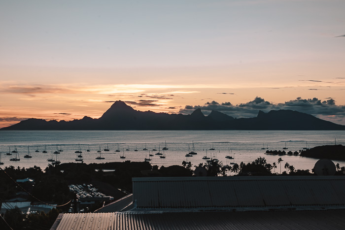 French Polynesia travel guide sunset on Moorea island from Tahiti by Dancing the Earth
