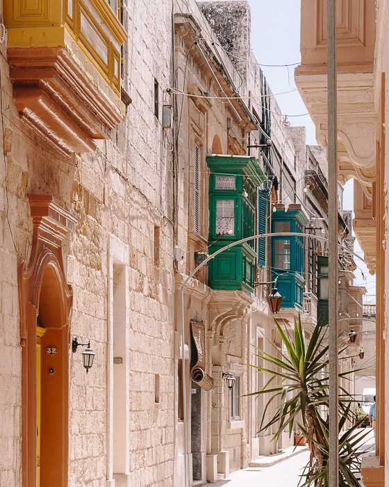 Street with balconies of Ir-Rabat Malta by Dancing the Earth