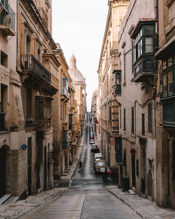 Malta travel guide Valletta street with view on the Cathedral by Dancing the Earth