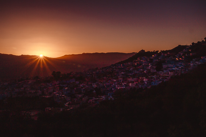 Morocco travel guide Chefchaouen sunset from Spanish mosque by Dancing the Earth