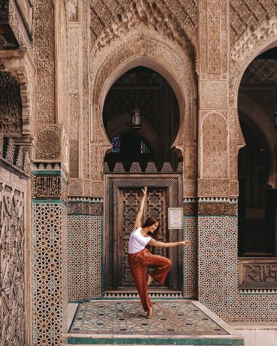 Morocco travel guide tiled corner of Bou Inania Medersa in Fes by Dancing the Earth