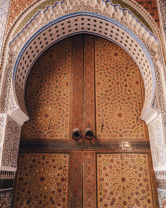 Fez medina door of a mosque by Dancing the Earth