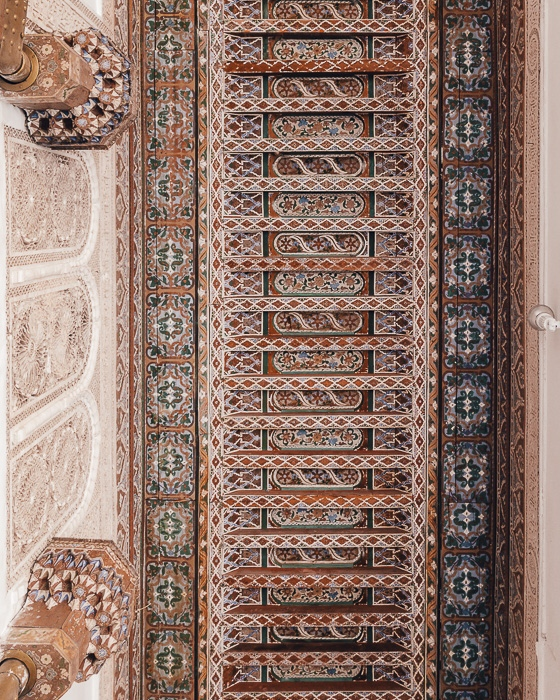 Ceiling detail of Bahia Palace in Marrakesh by Dancing the Earth