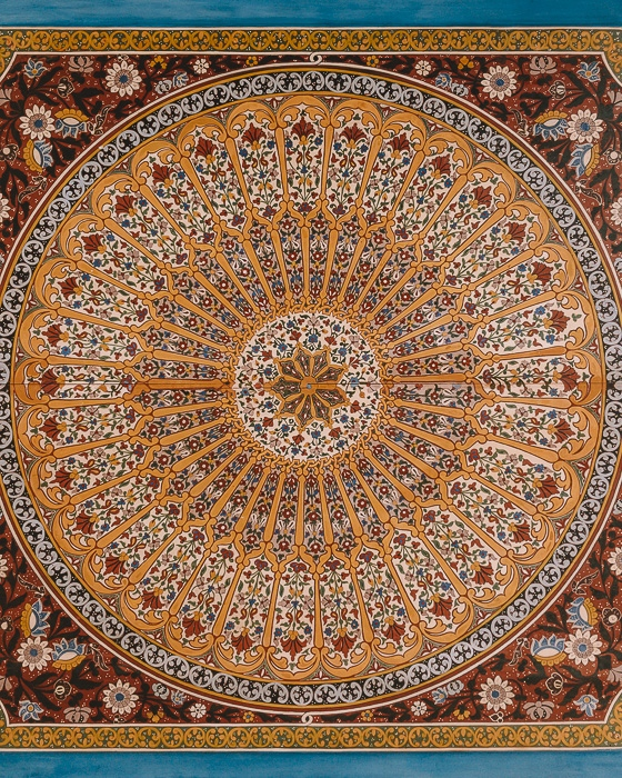 Morocco travel guide circular carved wood and tiles ceiling in Bahia Palace in Marrakesh by Dancing the Earth