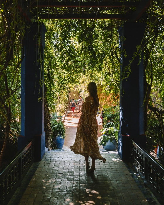 Morocco travel guide Marrakesh Jardin Majorelle arbour by Dancing the Earth
