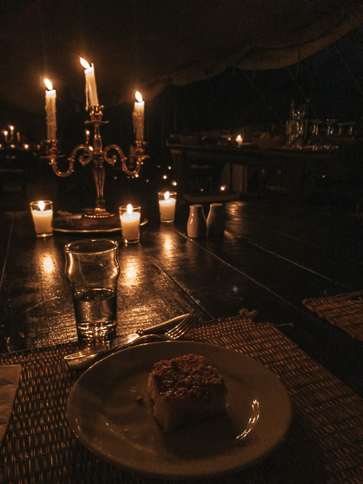 Candlelit dinner dessert at Scarabeo Camp by Dancing the Earth