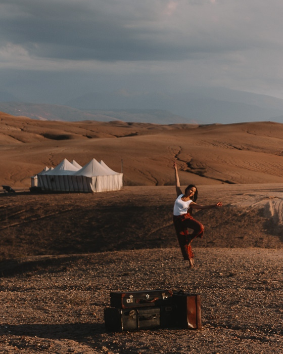 Morocco travel guide Scarabeo Camp old suitcases and tents by Dancing the Earth