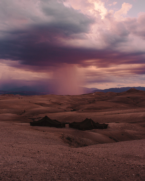 Sunset and storm from Scarabeo Camp by Dancing the Earth
