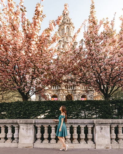 Spring in Paris Kanzan cherry blossoms in Eglise de la Trinité by Dancing the Earth