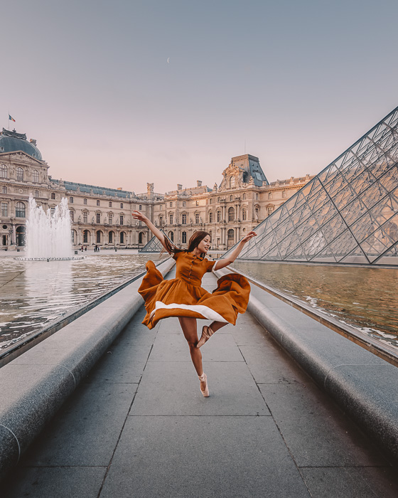 Summer in Paris fountains at Louvre Museum by Dancing the Earth