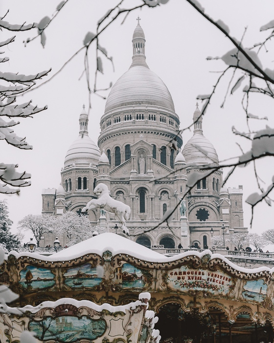 Paris Winter Sacre Coeur covered with snow by Dancing the Earth