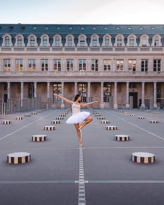 Paris Winter Palais Royal colonnes de Buren by Dancing the Earth
