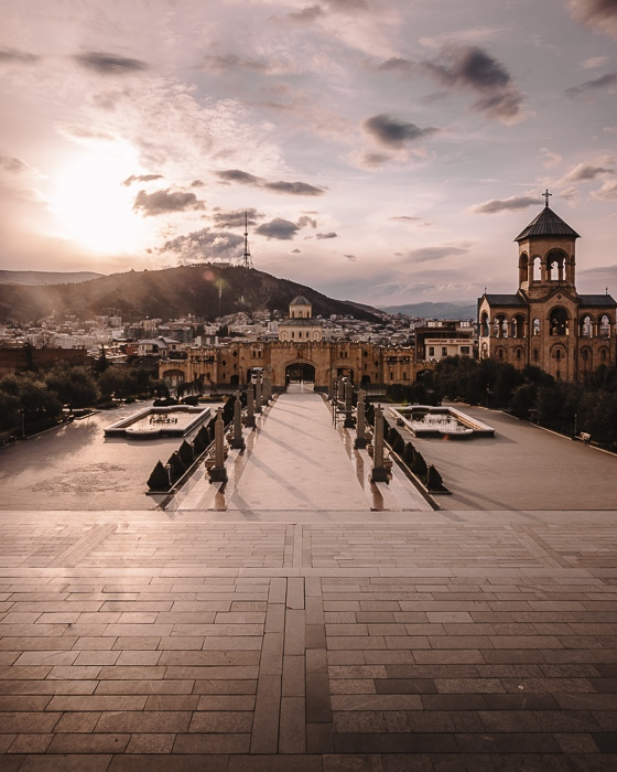 Tbilisi sunset from Sameba Cathedral by Dancing the Earth