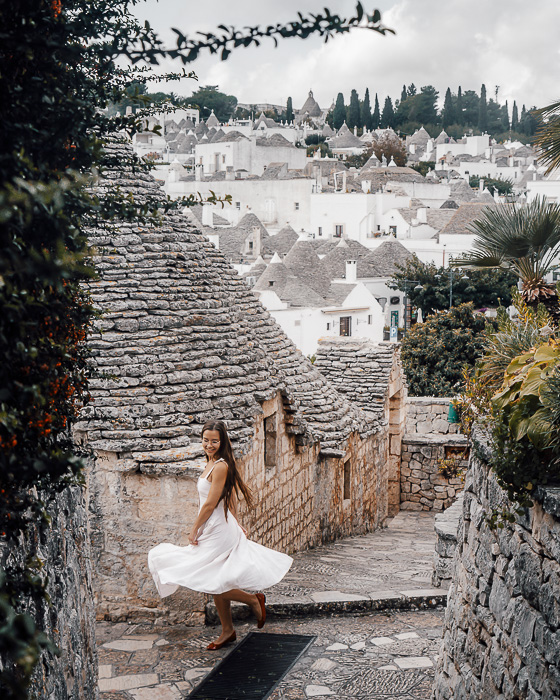 Twirling with a view on the trulli of Alberobello