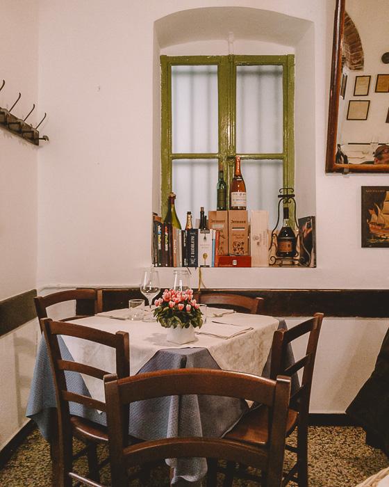 Inside the Trattoria Osvaldo, Boccadasse