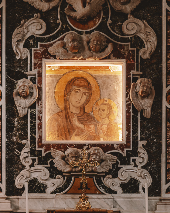 Icon inside the Cathedral of Matera, Puglia travel guide by Dancing the Earth