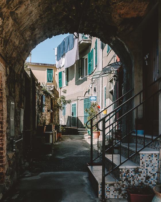 Arcades and street in Corniglia