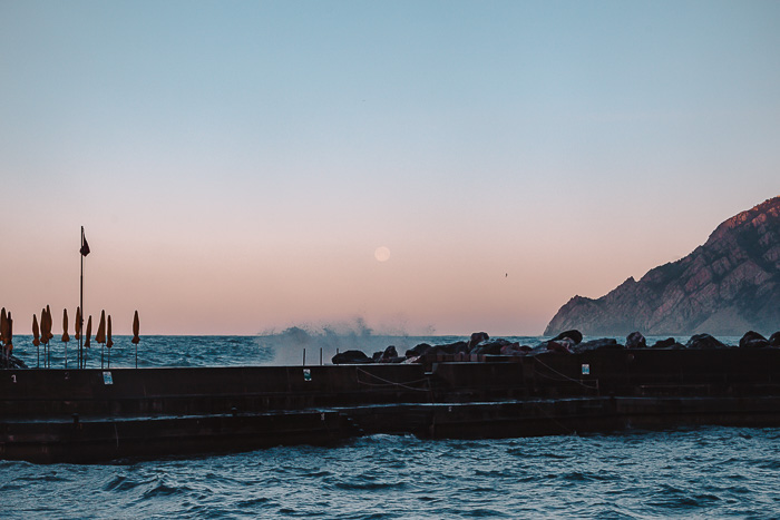 Moon and sunrise in Vernazza, Liguria and Cinque Terre travel guide by Dancing the Earth