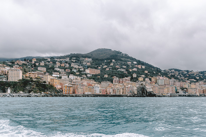Panorama of Camogli from the sea, Liguria and Cinque Terre travel guide by Dancing the Earth