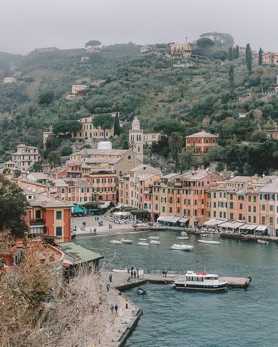 Portofino wharf from Chiesa di San Martino, Liguria and Cinque Terre travel guide by Dancing the Earth