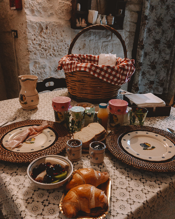 Breakfast basket at Trulli Caroli, Puglia travel guide by Dancing the Earth