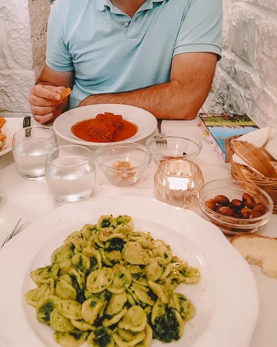 Orecchiette at restaurant La Nicchia in Alberobello, Puglia travel guide by Dancing the Earth