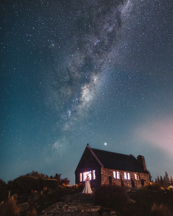 Milky Way at the Church of the Good Shepherd, South Island, Dancing the Earth