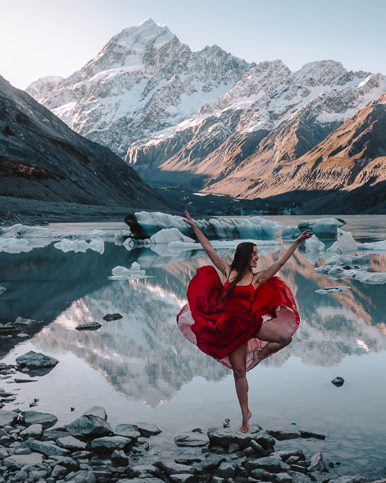 Hooker Glacier lake, South Island, Dancing the Earth