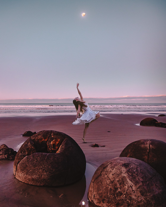 Moeraki Boulders and the moon, South Island, Dancing the Earth