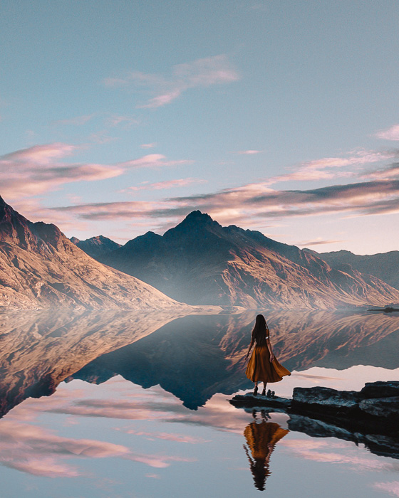 Cecile Peak reflecting in Lake Wakatipu, South Island, Dancing the Earth