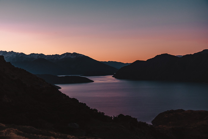 Last colors of the sunset over lake Wanaka, Dancing the Earth