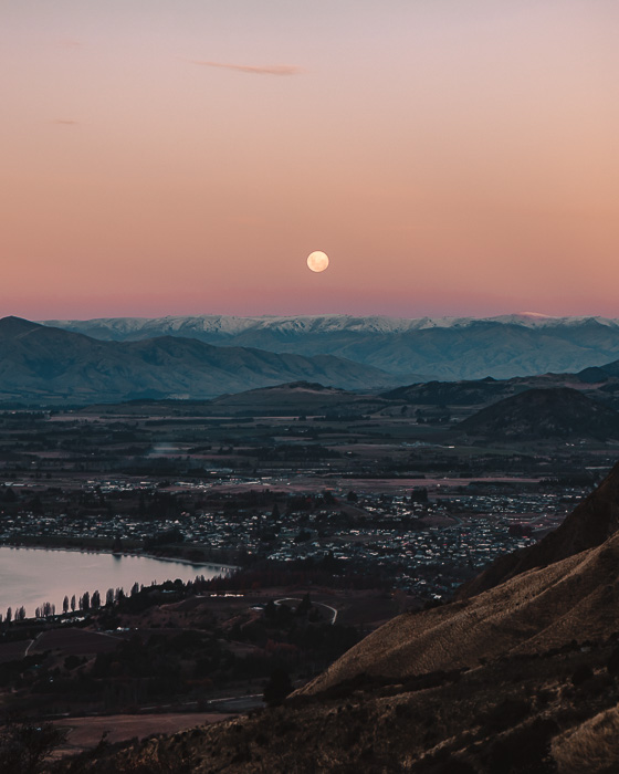 Sunset and moon over Wanaka, Dancing the Earth